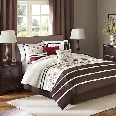 Dolores 7 Piece Comforter Set - Brown (Queen)