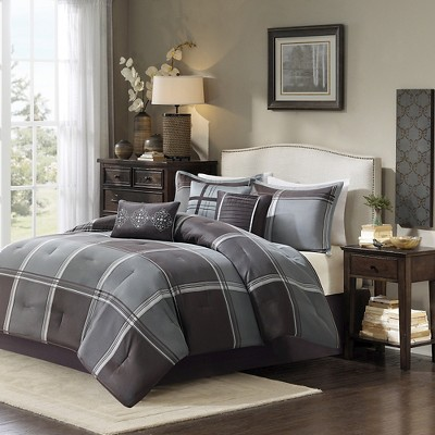 Fletcher 7 Piece Comforter Set - Grey (King)