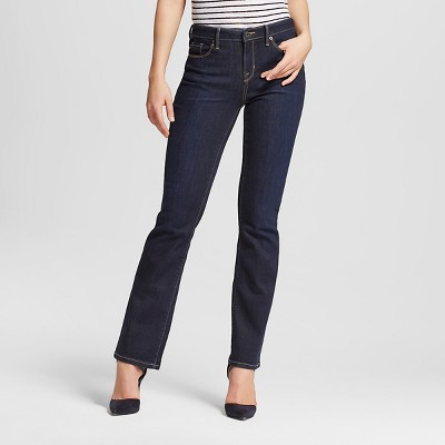 Dark wash mid rise bootcut jeans
