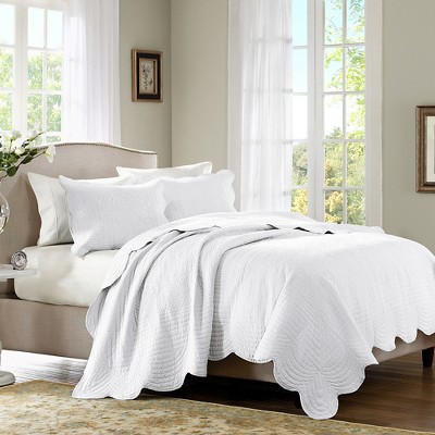 Genoa 3 Piece Coverlet Set - White (Full/Queen)