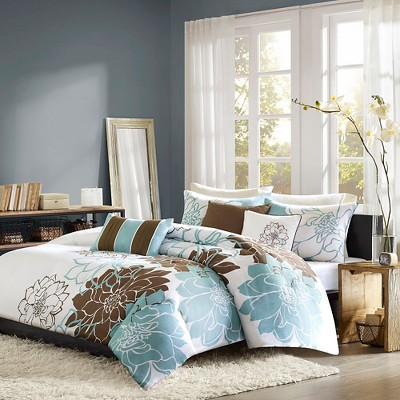 Farrah 6 Piece Printed Duvet Set - Blue/Brown (King)