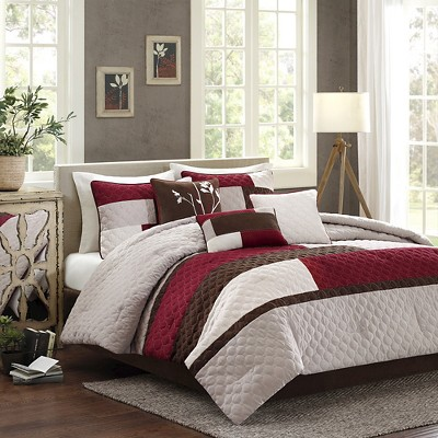 Collins 7 Piece Comforter Set - Red (California King)