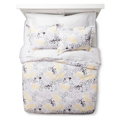 Bicycle Duvet Cover - Yellow/Gray (Twin Extra Long)