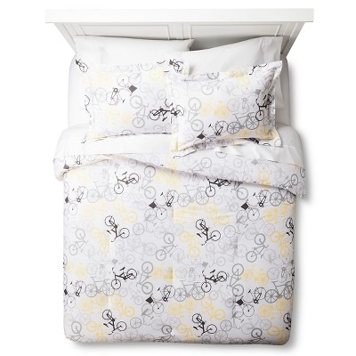 Bicycle Comforter Set - Yellow/Gray (Full/Queen
