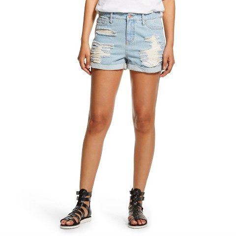 Hi-Rise Destructed Jean Short Blue - Mossimo