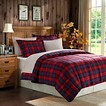 Red Plaid Microfiber Down Alternative Comforter Mini Set