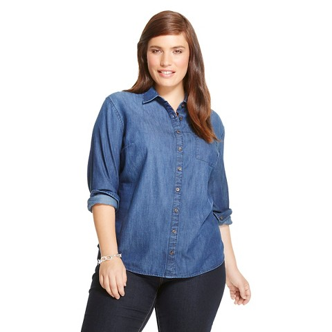 Women 39 s plus size denim button down shirt indigo target for Indigo denim shirt womens