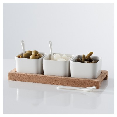 Torre & Tagus Evora Cork and Ceramic Set of Three Bowls with Spoons On Base