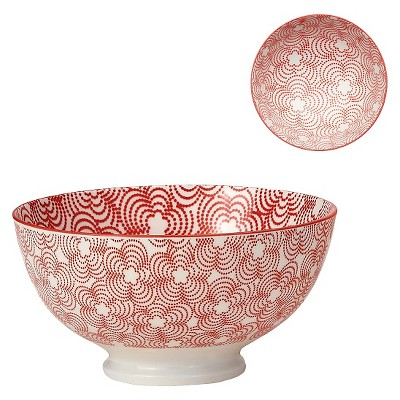 "Torre & Tagus Kiri Porcelain Medium Bowl - Red with Red Trim (6"")"