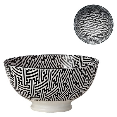 "Torre & Tagus Kiri Porcelain Medium Bowl - Black with Black Trim (6"")"
