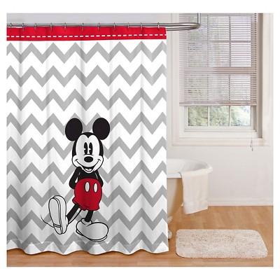 Disney® Mickey Mouse Chevron Shower Curtain - Gray/White