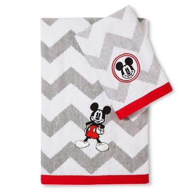 Disney® Mickey Mouse Chevron Bath Towel Set - Gray/White