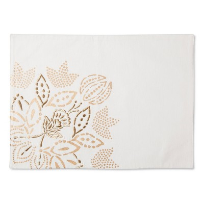 Threshold™ White with Gold Floral Placemat