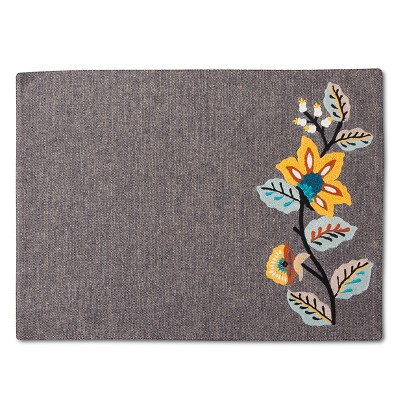 Threshold Gray Embroidered Floral Placemat