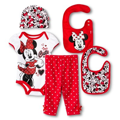 Disney Girls' Top and Bottom Set Red and White 0-6M