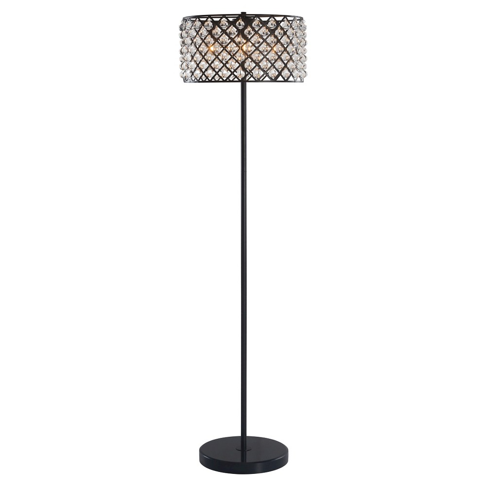 Chandler floor lamp distressed black for Distressed metal floor lamp