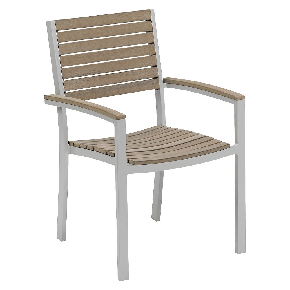 PATIO ARMCHAIR TRAVIRA 2 PIECE METAL FAUX WOOD PATIO ARM DINING CHAIRS