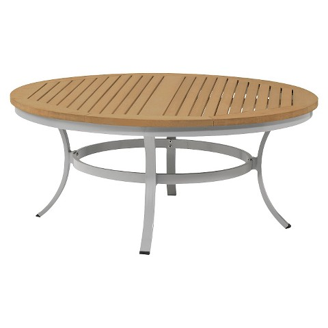 Travira 48 quot metal faux wood patio round coffee table product details