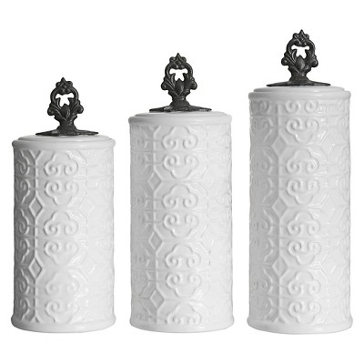 American Atelier Devi 3 Piece Canister Set - White