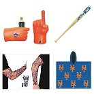 Mets Game Day Fan Pack  Fan Fist, Tattoo Sleeve, Mini-Bat & Poncho