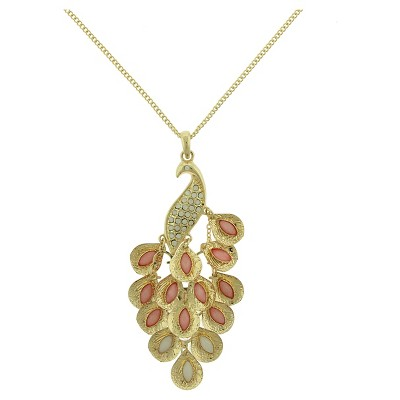 Women's Link Chain Necklace with Peacock Pendant - Gold