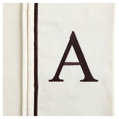 Monogram Letter A Pillowcase 2 Pack - Ivory (Standard)