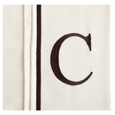 Monogram Letter C Pillowcase 2 Pack - Ivory (Standard)