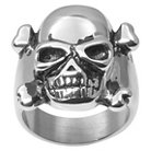 Men's Daxx Stainless Steel Crossbones Skull Ring - Silver