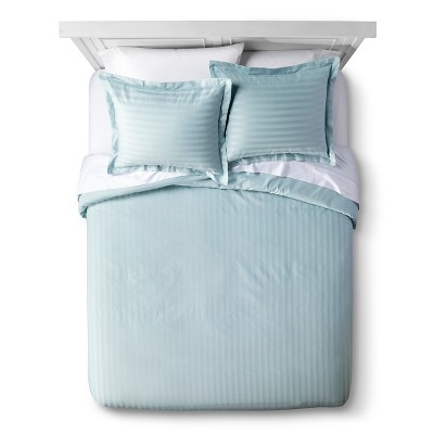500 Thread Count Andiamo Egyptian Stripe Duvet Cover Set - Blue Haze (Full/Queen)