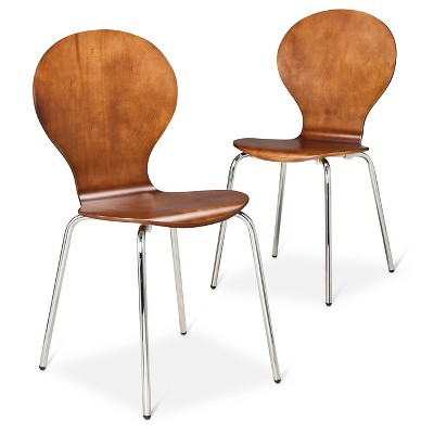 Modern Stacking Chair - Walnut (Set of 2)