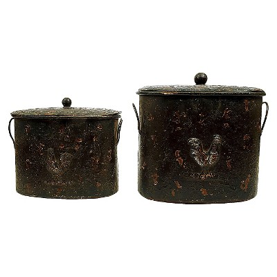 Decorative Metal Containers with Lid (Set of 2)