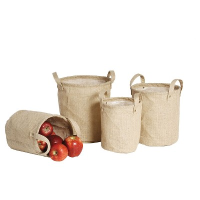 Burlap Lined Bags (Set of 4)