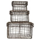 Square Iron Wire Baskets with Lids