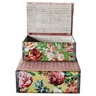 Paper Floral Boxes with Quilted Fabric Top (Set of 2)