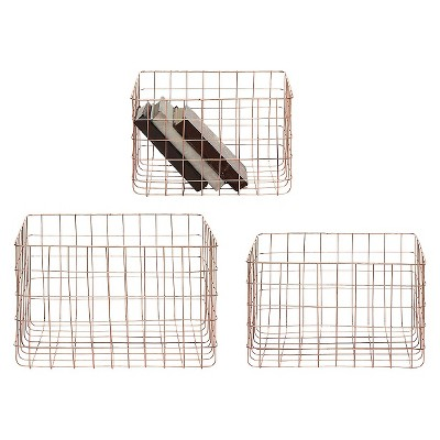 Set of 3 Wire Baskets - Copper