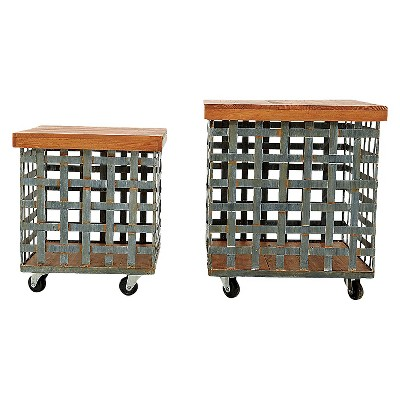 "Square Metal Baskets on Casters with Wood Tops (2 16"")"