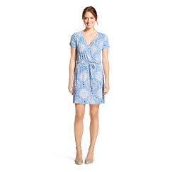 Women's Short Sleeve Faux Wrap Dress - U-Knit