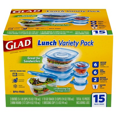 Glad 15 Piece Lunch Variety Pack
