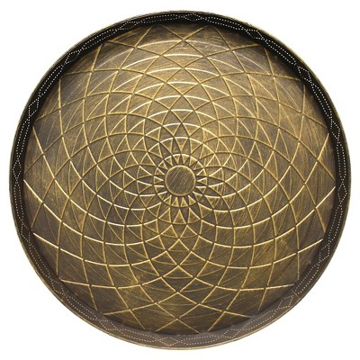 """Stamped Metal Tray 22""""x22' - Gold"""