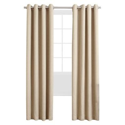 """Sun Zero Armida Woven Chevron Room Darkening Curtain Panel - Wheat (50""""x95"""")"""