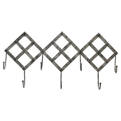 A&B Home Metal Diamond Wall Hook - Grey