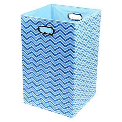 Modern Littles Zig Zag Laundry Basket Blue