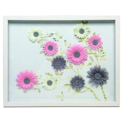 Flower Collage Shadowbox 16x20 - White
