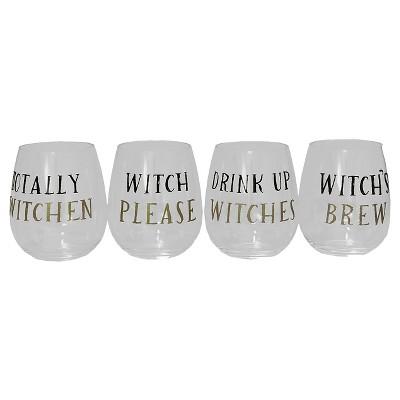 Halloween Stemless Wine Glasses - Assorted