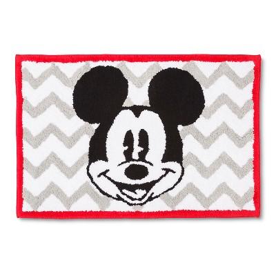 Disney® Mickey Mouse Chevron Bath Rug - Gray/White (21x30 )