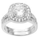 2 4/5 CT. T.W. Round Cut CZ Basket Set Engagement Ring in Sterling Silver - Silver