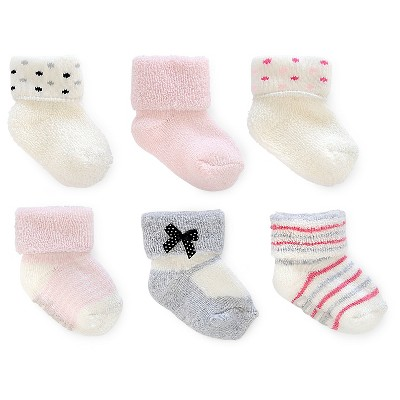 Just One You™ Made By Carter's® Newborn Girls' 6-Pack Polka Dots Ankle Sock - White/Gray/Pink 0-3 M
