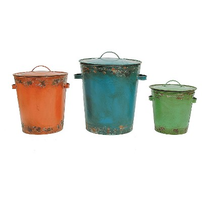 Tin Buckets with Distressed Finish (Set of 3)