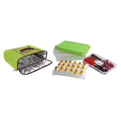 Rachael Ray Foodtastic Party Box with Thermal Carrier - Green Stripe