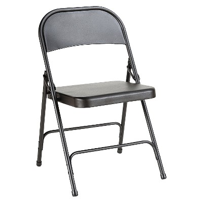 Alera Steel Folding Chair with Two-Brace Support, Graphite, 4/Carton